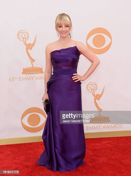 Actress Melissa Rauch arrives at the 65th Annual Primetime Emmy Awards held at Nokia Theatre LA Live on September 22 2013 in Los Angeles California