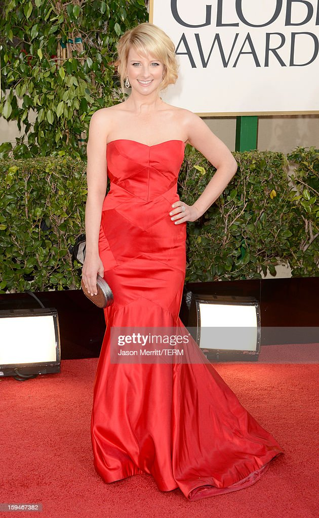 Actress Melissa Rauch arrives at the 70th Annual Golden Globe Awards held at The Beverly Hilton Hotel on January 13, 2013 in Beverly Hills, California.