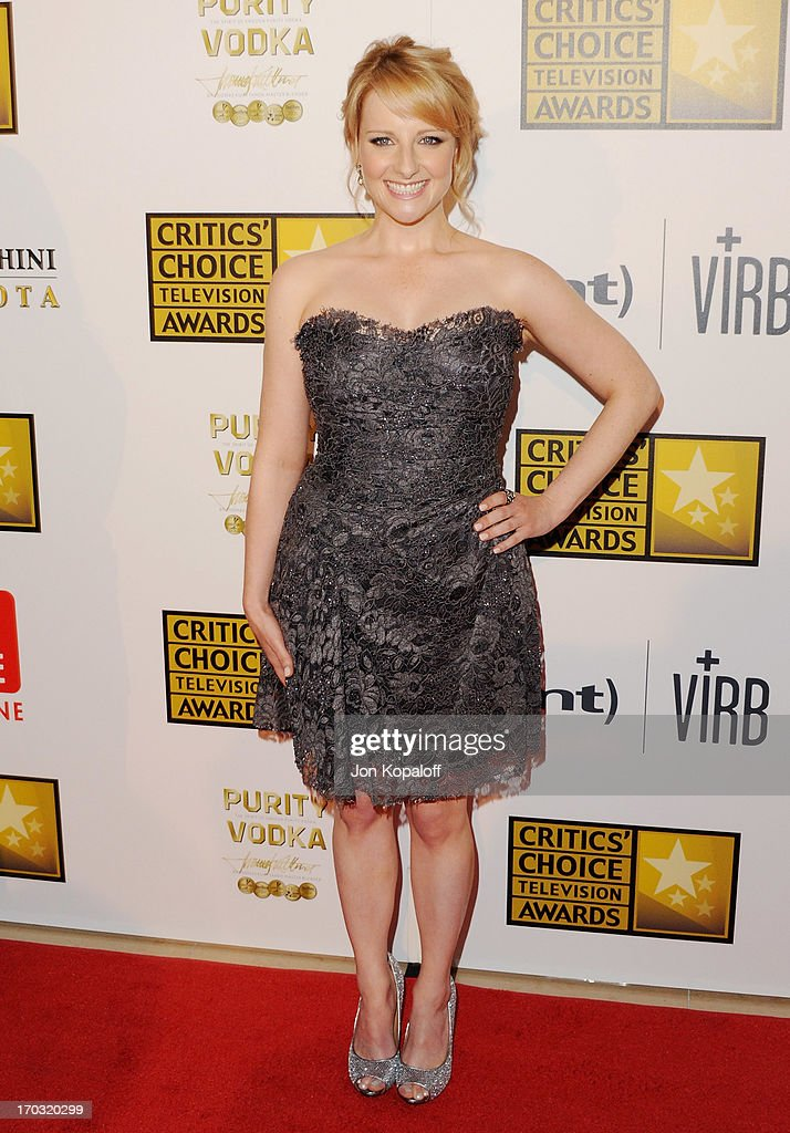 Actress <a gi-track='captionPersonalityLinkClicked' href=/galleries/search?phrase=Melissa+Rauch&family=editorial&specificpeople=887562 ng-click='$event.stopPropagation()'>Melissa Rauch</a> arrives at the BTJA Critics' Choice Television Award at The Beverly Hilton Hotel on June 10, 2013 in Beverly Hills, California.