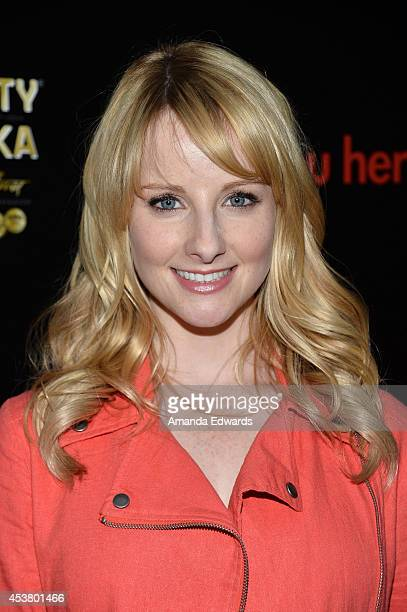 Actress Melissa Rauch arrives at the Los Angeles premiere of 'Are You Here' at the ArcLight Hollywood on August 18 2014 in Hollywood California