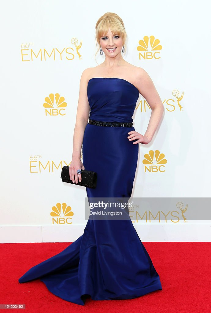 Actress <a gi-track='captionPersonalityLinkClicked' href=/galleries/search?phrase=Melissa+Rauch&family=editorial&specificpeople=887562 ng-click='$event.stopPropagation()'>Melissa Rauch</a> attends the 66th Annual Primetime Emmy Awards at the Nokia Theatre L.A. Live on August 25, 2014 in Los Angeles, California.