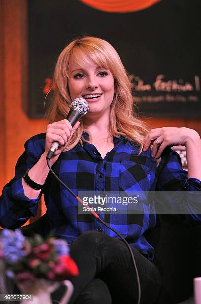 Actress Melissa Rauch speaks onstage at the Cinema Cafe during the 2015 Sundance Film Festival at Filmmaker Lodge on January 23 2015 in Park City Utah