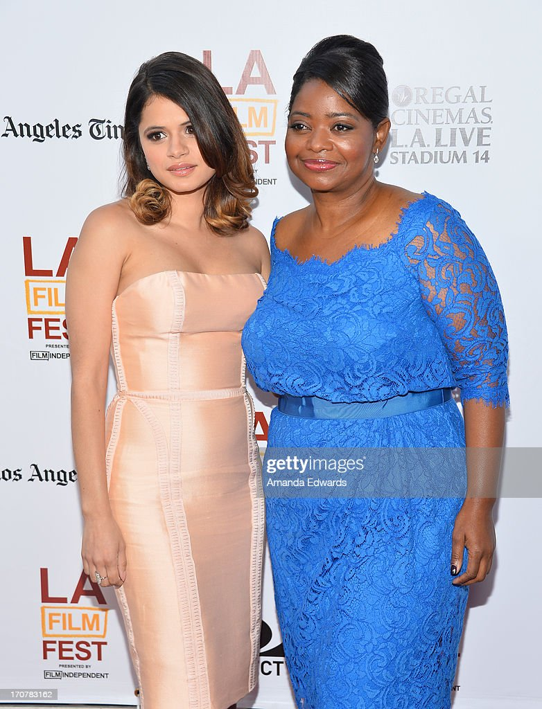 Actress Melonie Diaz (L) and Actress Octavia Spencer attend the 'Fruitvale Station' premiere during the 2013 Los Angeles Film Festival at Regal Cinemas L.A. Live on June 17, 2013 in Los Angeles, California.
