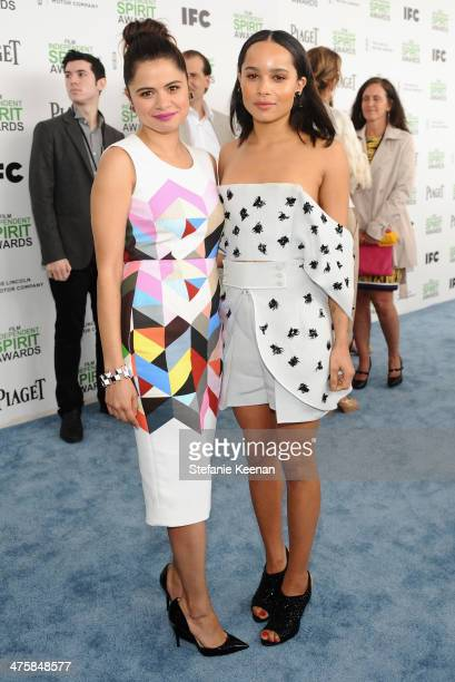 Actress Melonie Diaz and Zoe Kravitz attend the 2014 Film Independent Spirit Awards at Santa Monica Beach on March 1 2014 in Santa Monica California