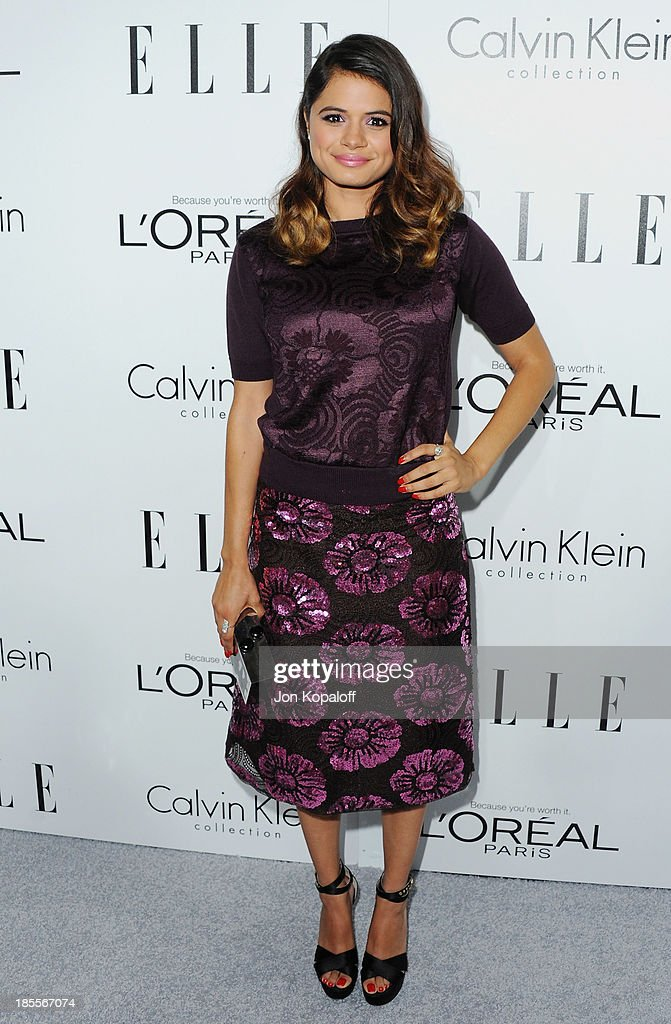 Actress <a gi-track='captionPersonalityLinkClicked' href=/galleries/search?phrase=Melonie+Diaz&family=editorial&specificpeople=3323742 ng-click='$event.stopPropagation()'>Melonie Diaz</a> arrives at ELLE Celebrates 20th Annual Women In Hollywood Event at Four Seasons Hotel Los Angeles at Beverly Hills on October 21, 2013 in Beverly Hills, California.