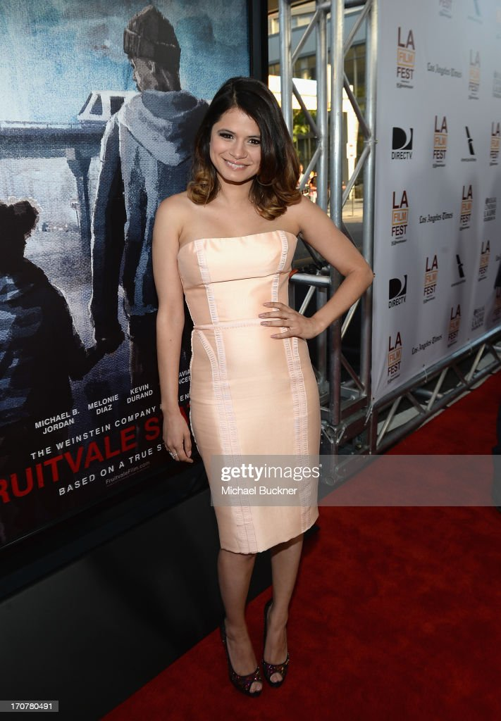 Actress Melonie Diaz arrives at the premiere of The Weinstein Company's 'Fruitvale Station' at Regal Cinemas L.A. Live on June 17, 2013 in Los Angeles, California.
