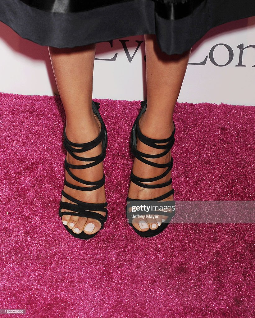 Actress <a gi-track='captionPersonalityLinkClicked' href=/galleries/search?phrase=Melonie+Diaz&family=editorial&specificpeople=3323742 ng-click='$event.stopPropagation()'>Melonie Diaz</a> (shoe detail) at the Eva Longoria Foundation Dinner at Beso restaurant on September 28, 2013 in Hollywood, California.