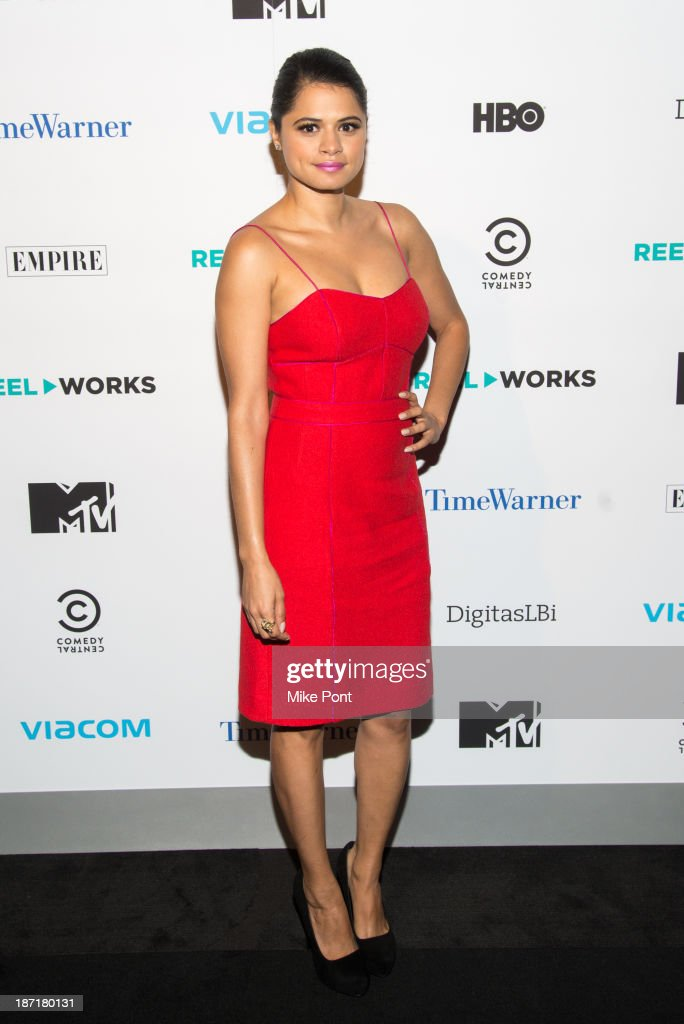 Actress <a gi-track='captionPersonalityLinkClicked' href=/galleries/search?phrase=Melonie+Diaz&family=editorial&specificpeople=3323742 ng-click='$event.stopPropagation()'>Melonie Diaz</a> attends the REEL WORKS 2013 benefit gala at The Edison Ballroom on November 6, 2013 in New York City.