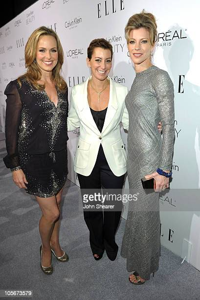 Actress Melora Hardin Senior Vice President and Chief Brand Officer for the ELLE Group Robin Domeniconi and Editorinchief of ELLE Robbie Myers arrive...