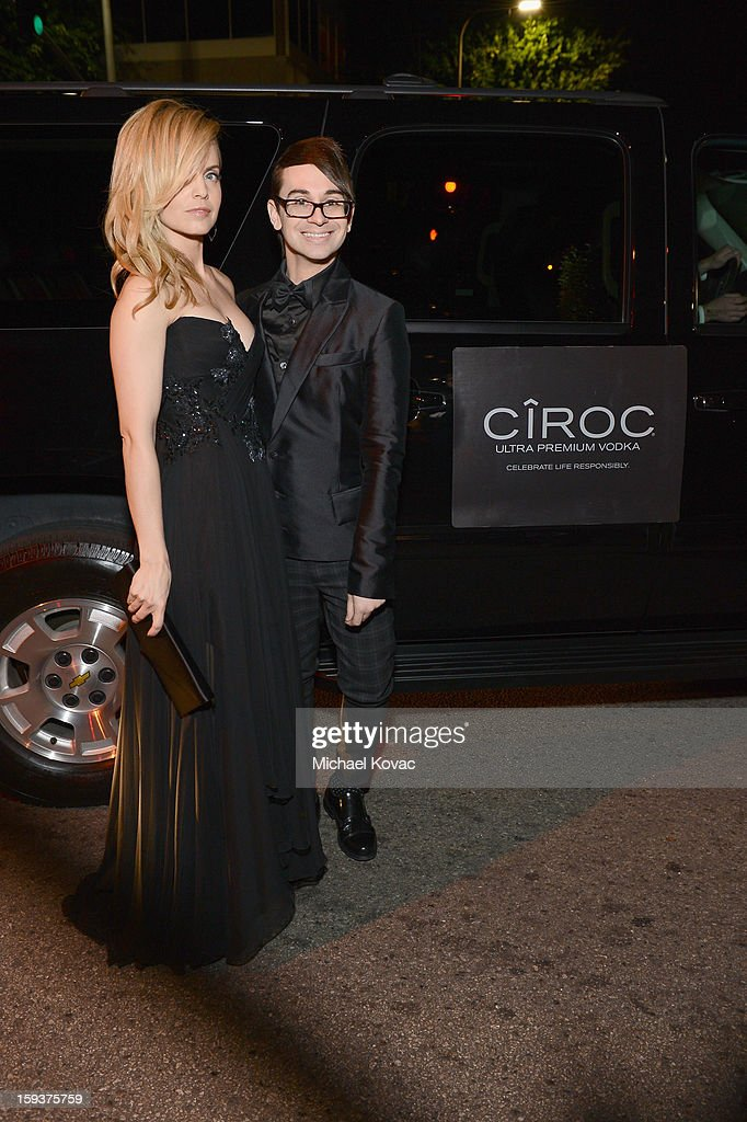 Actress Mena Suvari (L) and designer Christian Siriano attend The Art of Elysium's 6th Annual HEAVEN Gala presented by Audi at 2nd Street Tunnel on January 12, 2013 in Los Angeles, California.