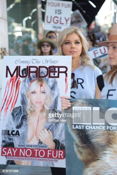 Actress Mena Suvari and Donna D'Errico seen on November 24 2017 at The Fur Free Friday Peaceful Protest March in Los Angeles CA