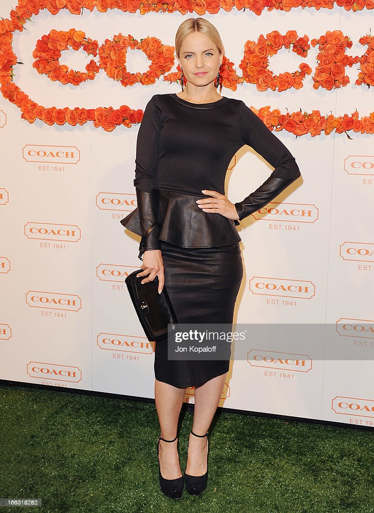 Actress Mena Suvari arrives at the 3rd Annual Coach Evening To Benefit Children's Defense Fund at Bad Robot on April 10, 2013 in Santa Monica, California.