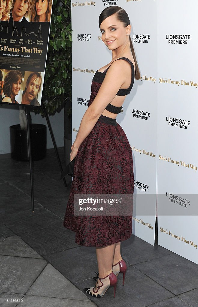 Actress Mena Suvari arrives at the Los Angeles Premiere 'She's Funny That Way' at Harmony Gold on August 19 2015 in Los Angeles California