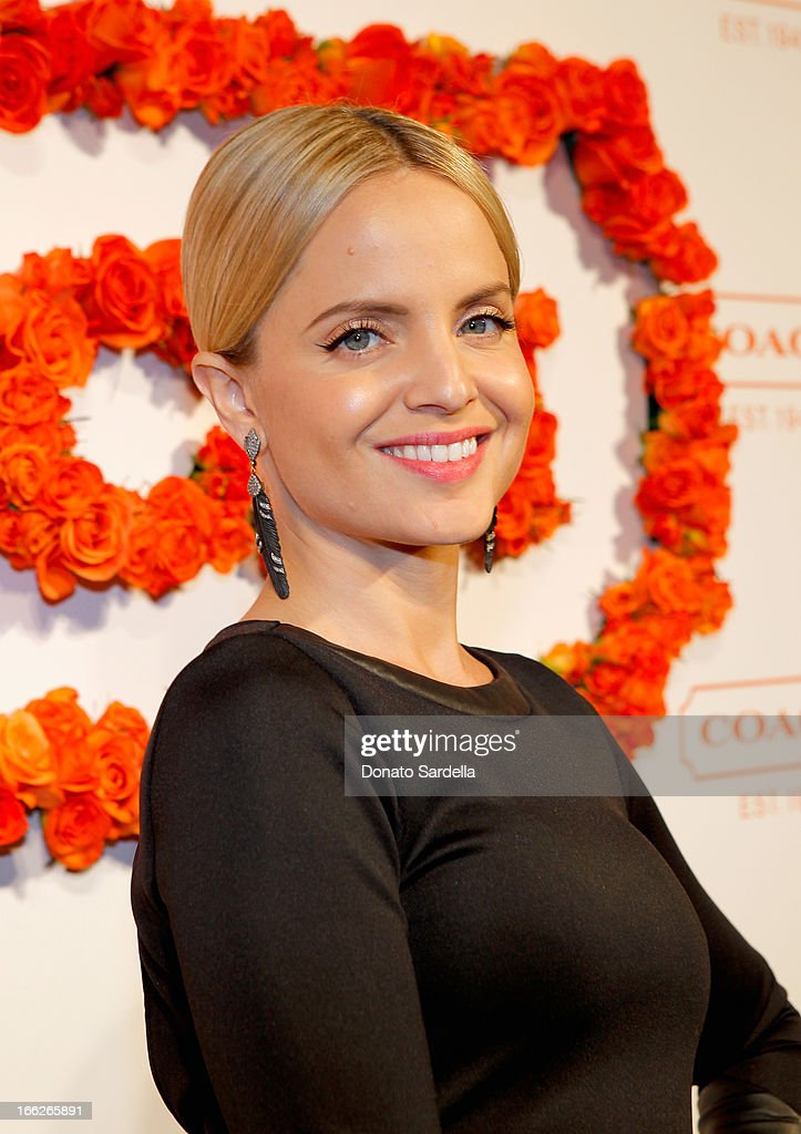 Actress Mena Suvari (earing detail) attends Coach's 3rd Annual Evening of Cocktails and Shopping to Benefit the Children's Defense Fund hosted by Katie McGrath, J.J. Abrams and Bryan Burk at Bad Robot on April 10, 2013 in Santa Monica, California.