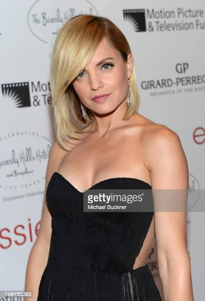 Actress Mena Suvari attends the 100th anniversary celebration of the Beverly Hills Hotel Bungalows supporting the Motion Picture Television Fund and...