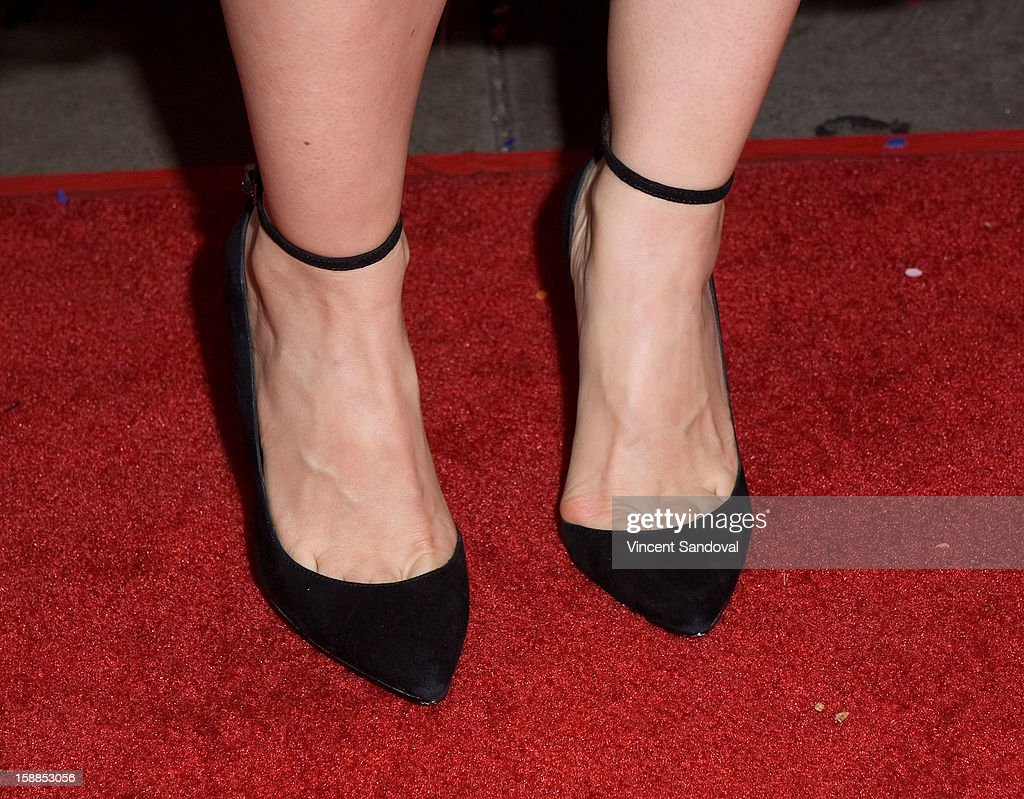 Actress Mena Suvari (shoe detail) attends the 'First Night 2013' New Year's Eve Party hosted by Jamie Kennnedy at Grauman's Chinese Theatre on December 31, 2012 in Hollywood, California.