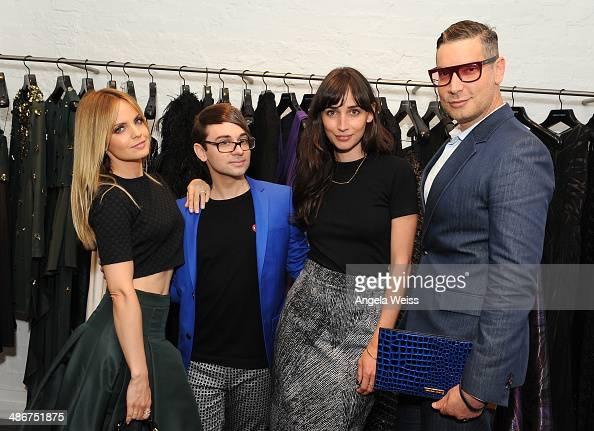 Actress Mena Suvari designer Christian Siriano actress Rebecca Dayan and Decades founder Cameron Silver attend Christian Siriano Fall 2014 LA preview...