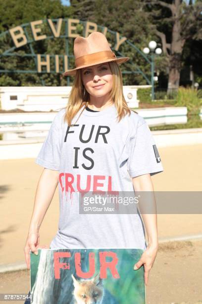 Actress Mena Suvari is seen on November 24 2017 at The Fur Free Friday Peaceful Protest March in Los Angeles CA