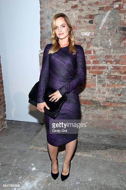 Actress Mena Suvari poses backstage at the Christian Siriano fashion show during MercedesBenz Fashion Week Spring 2015 at Eyebeam on September 6 2014...