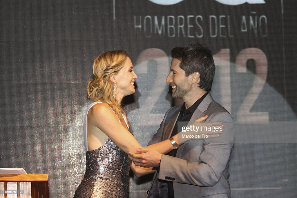 Actress Mercedes Cardoso greets Actor Marco Zunino during the awards ceremony GQ Men of the Year 2012 at La Huaca Pucllana on November 23, 2012 in Lima, Peru.