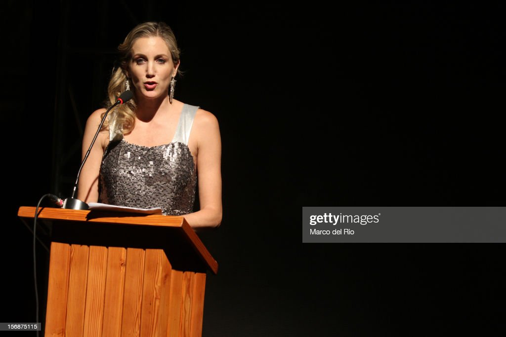 Actress Mercedes Cardoso speaks during the awards ceremony GQ Men of the Year 2012 at La Huaca Pucllana on November 23, 2012 in Lima, Peru.