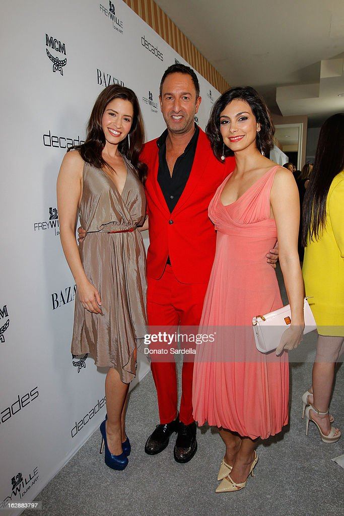 Actress Mercedes Masohn Decades coowner Christos Garkinos and actress Morena Baccarin attend the Dukes of Melrose launch hosted by Decades Harper's...