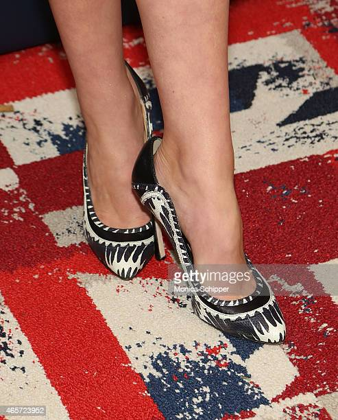 Actress Merritt Patterson shoe detail attends 'The Royals' New York Series Premiere at The Standard Highline on March 9 2015 in New York City
