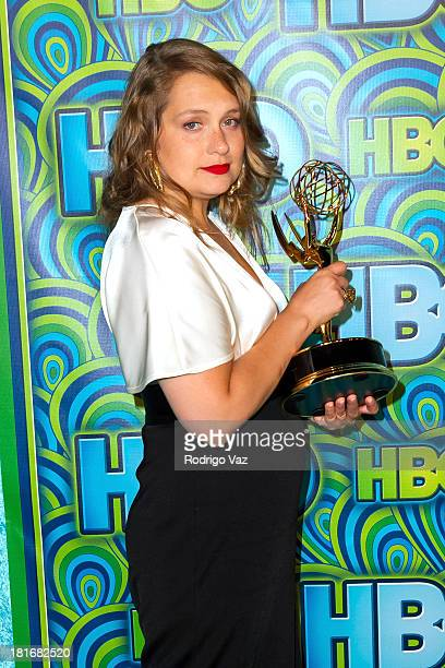Actress Merritt Wever arrives at HBO's Annual Primetime Emmy Awards Post Award Reception with her award for Supporting Actress in a Comedy Series at...