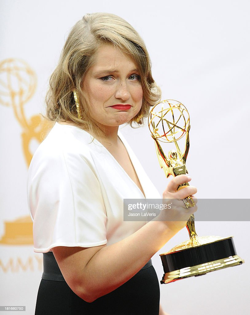 Actress <a gi-track='captionPersonalityLinkClicked' href=/galleries/search?phrase=Merritt+Wever&family=editorial&specificpeople=5668046 ng-click='$event.stopPropagation()'>Merritt Wever</a> poses in the press room at the 65th annual Primetime Emmy Awards at Nokia Theatre L.A. Live on September 22, 2013 in Los Angeles, California.