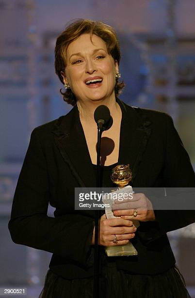 Actress Meryl Streep accepting her Award for Best Actress in a Television MiniSeries on stage at the 61st Annual Golden Globe Awards on January 25...