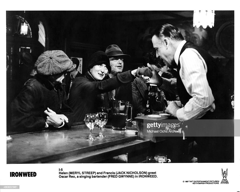Actress Meryl Streep, actor Jack Nicholson and actor Fred Gwynne in a scene from the Tri Star Entertainment movie ' Ironweed ', circa 1987.