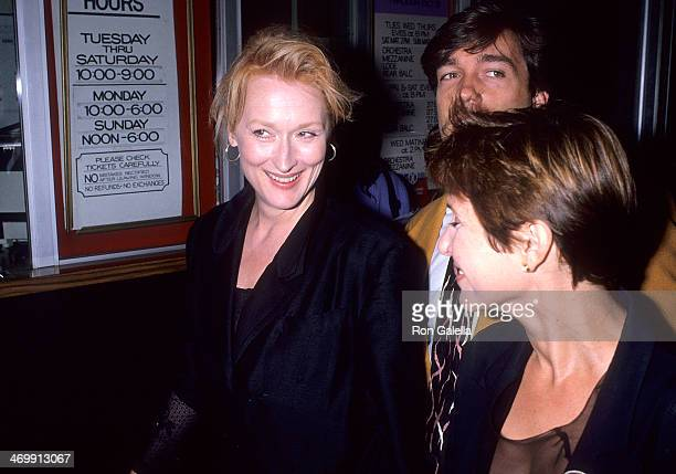 Actress Meryl Streep agent Kevin Huvane and actress Carrie Fisher attend 'The Unsinkable Molly Brown' Opening Night on September 19 1989 at the...