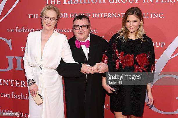 Actress Meryl Streep Alber Elbaz and Louisa Gummer attends Fashion Group International's 2015 Night of Stars The Revolutionaries at Cipriani Wall...