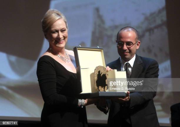 Actress Meryl Streep and academy award winner director Giuseppe Tornatore during the Official Awards Ceremony on Day 9 of the 4th International Rome...