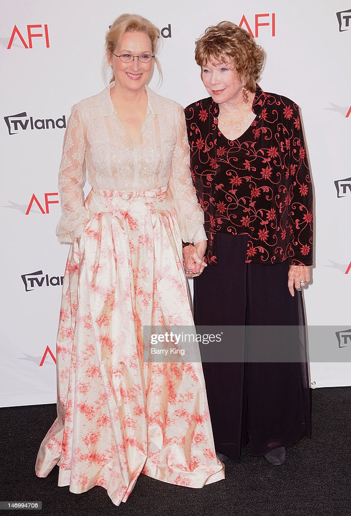 Actress Meryl Streep and actress Shirley MacLaine arrive at TV Land Presents: AFI Life Achievement Award honoring Shirley MacLaine held at Sony Studios on June 7, 2012 in Los Angeles, California.