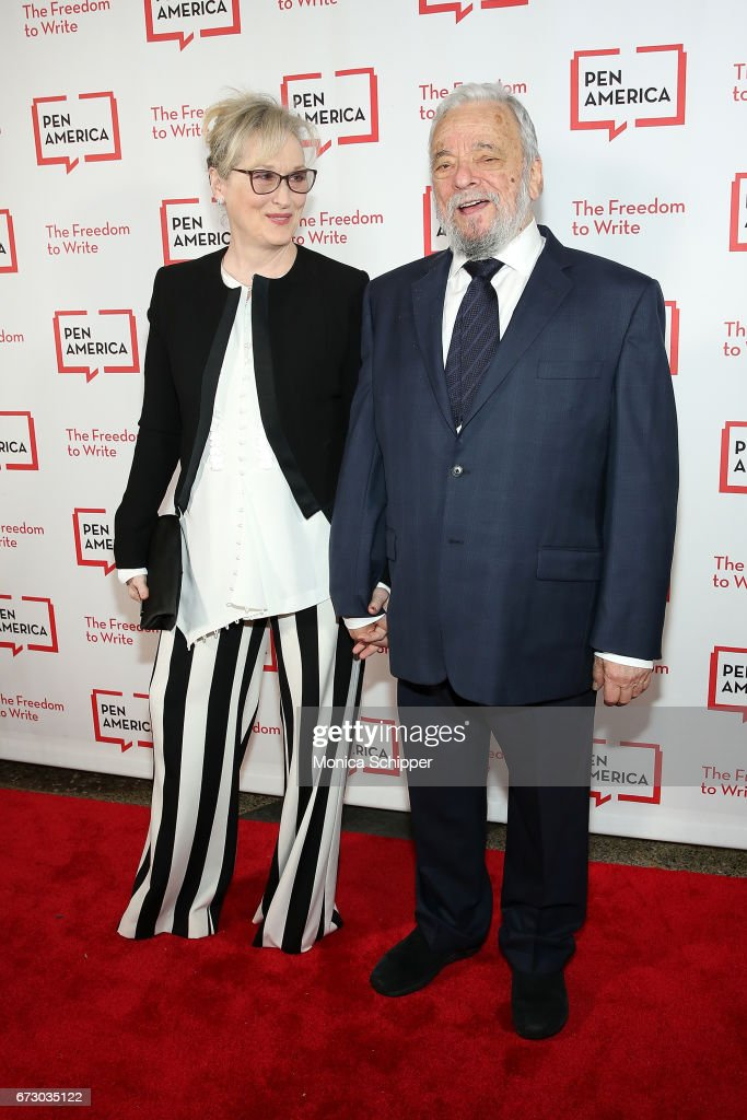 Actress Meryl Streep (L) and composer, lyricist and honoree Stephen Sondheim attend the 2017 PEN America Literary Gala at American Museum of Natural History on April 25, 2017 in New York City.