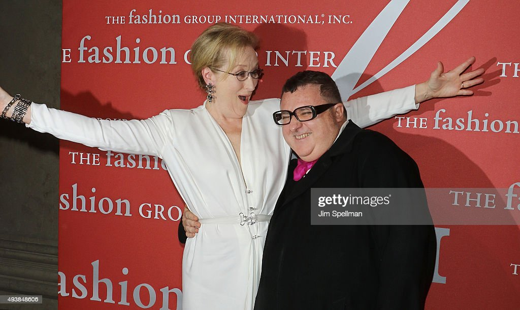 Actress Meryl Streep and designer Alber Elbaz attend the 2015 Fashion Group International's Night of Stars at Cipriani Wall Street on October 22 2015...