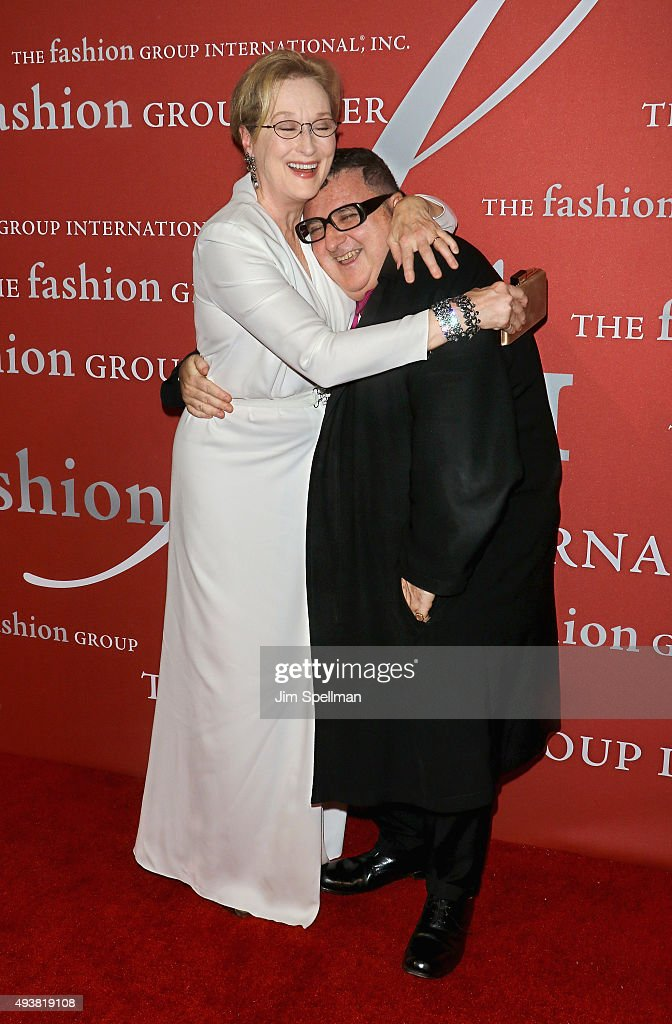 Actress <a gi-track='captionPersonalityLinkClicked' href=/galleries/search?phrase=Meryl+Streep&family=editorial&specificpeople=171097 ng-click='$event.stopPropagation()'>Meryl Streep</a> and designer/honoree <a gi-track='captionPersonalityLinkClicked' href=/galleries/search?phrase=Alber+Elbaz&family=editorial&specificpeople=783481 ng-click='$event.stopPropagation()'>Alber Elbaz</a> attend the 2015 Fashion Group International's Night of Stars at Cipriani Wall Street on October 22, 2015 in New York City.