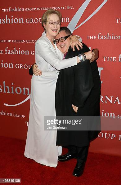 Actress Meryl Streep and designer/honoree Alber Elbaz attend the 2015 Fashion Group International's Night of Stars at Cipriani Wall Street on October...