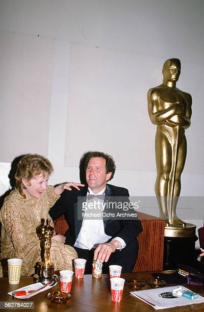 Actress Meryl Streep and her husband Don Gummer backstage during the 55th Academy Awards at Dorothy Chandler Pavilion in Los AngelesCalifornia