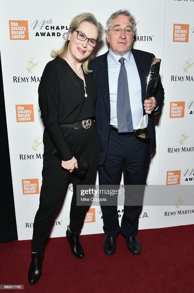 Actress Meryl Streep (L) and Honoree Robert De Niro backstage during the 44th Chaplin Award Gala at David H. Koch Theater at Lincoln Center on May 8, 2017 in New York City.