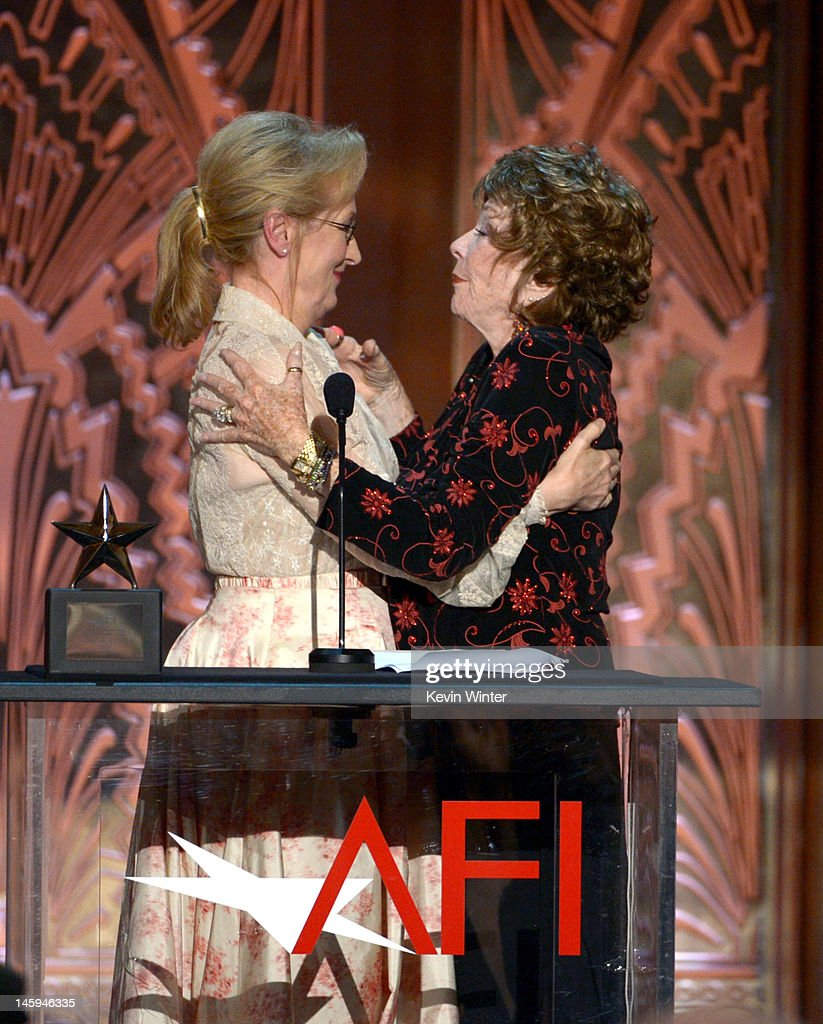 Actress Meryl Streep and Honoree Shirley MacLaine speak onstage at the 40th AFI Life Achievement Award honoring Shirley MacLaine held at Sony Pictures Studios on June 7, 2012 in Culver City, California. The AFI Life Achievement Award tribute to Shirley MacLaine will premiere on TV Land on Saturday, June 24 at 9PM