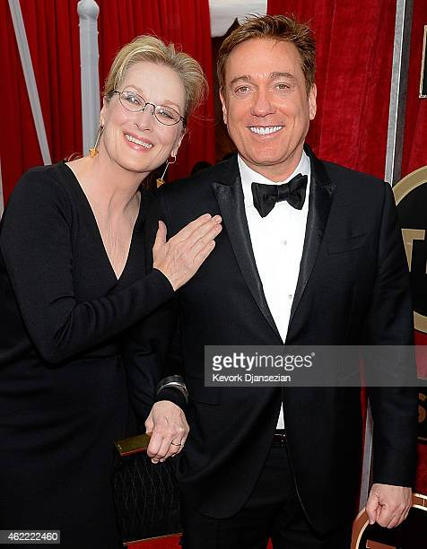 Actress Meryl Streep and Kevin Huvane attend the 21st Annual Screen Actors Guild Awards at The Shrine Auditorium on January 25 2015 in Los Angeles...