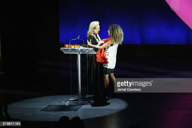 Actress Meryl Streep and Masih Alinejad embrace onstage at Meryl Streep and Leaders of Tomorrow Call to Action during Tina Brown's 7th Annual Women...