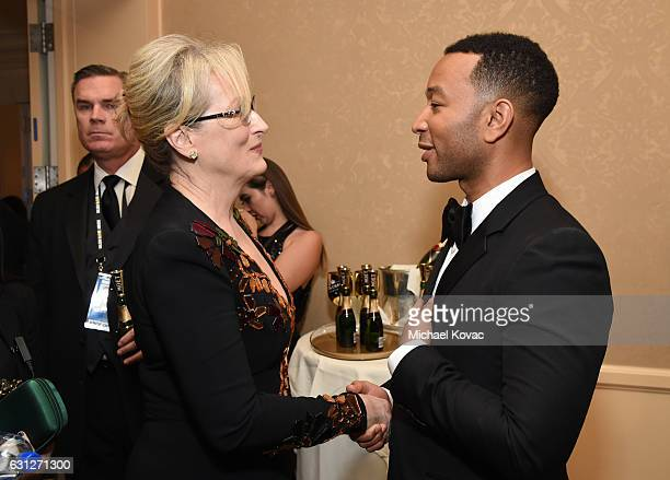 Actress Meryl Streep and musician John Legend attend the 74th Annual Golden Globe Awards at The Beverly Hilton Hotel on January 8 2017 in Beverly...