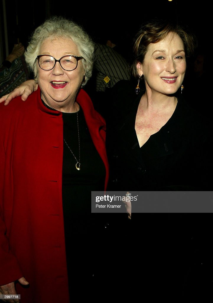 Actress Meryl Streep and publicist Lois Smith attend the play opening 'bridge and tunnel' on February 19 2004 at the Bleecker Street Theatre in New...