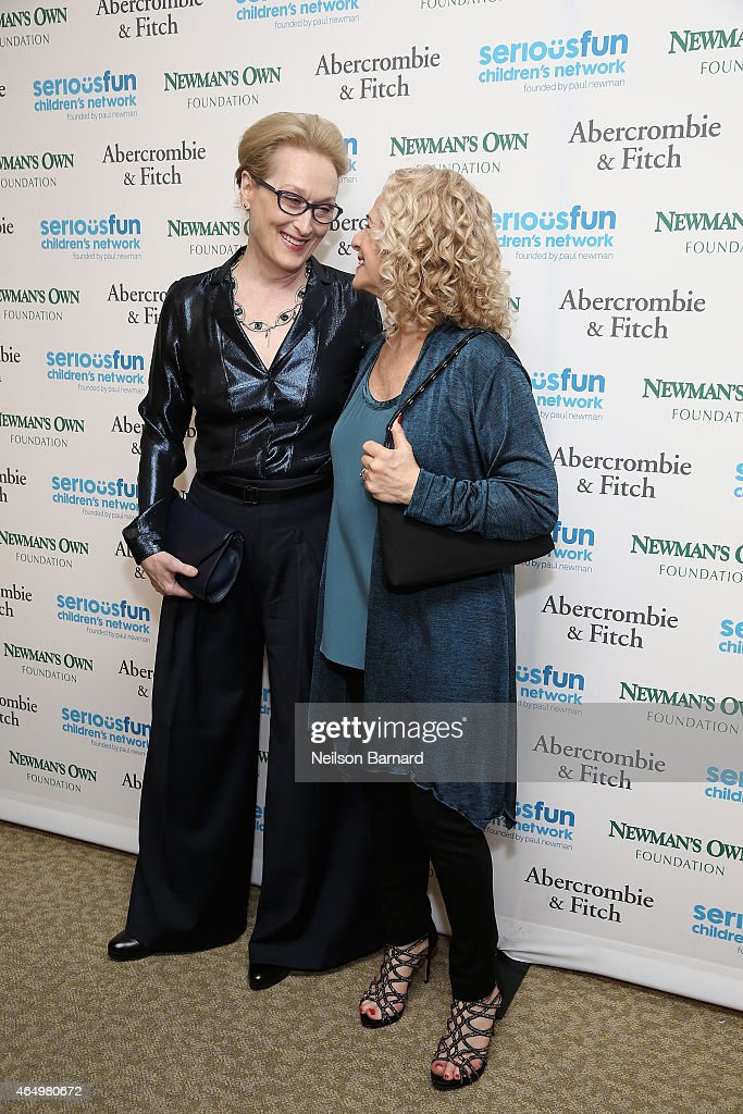 Actress Meryl Streep and singer Carole King attend SeriousFun Children's Network 2015 New York Gala: An Evening of SeriousFun Celebrating the Legacy of Paul Newman at Avery Fisher Hall at Lincoln Center for the Performing Arts on March 2, 2015 in New York City.