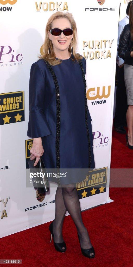 Actress Meryl Streep arrives at the 19th Annual Critics' Choice Movie Awards at Barker Hangar on January 16, 2014 in Santa Monica, California.