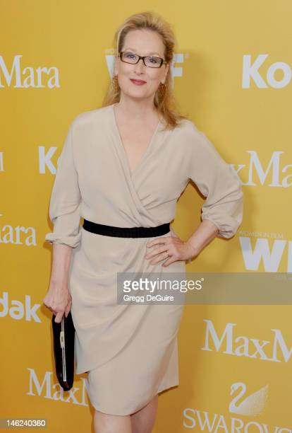 Actress Meryl Streep arrives at the 2012 Women In Film Crystal Lucy Awards at The Beverly Hilton Hotel on June 12 2012 in Beverly Hills California