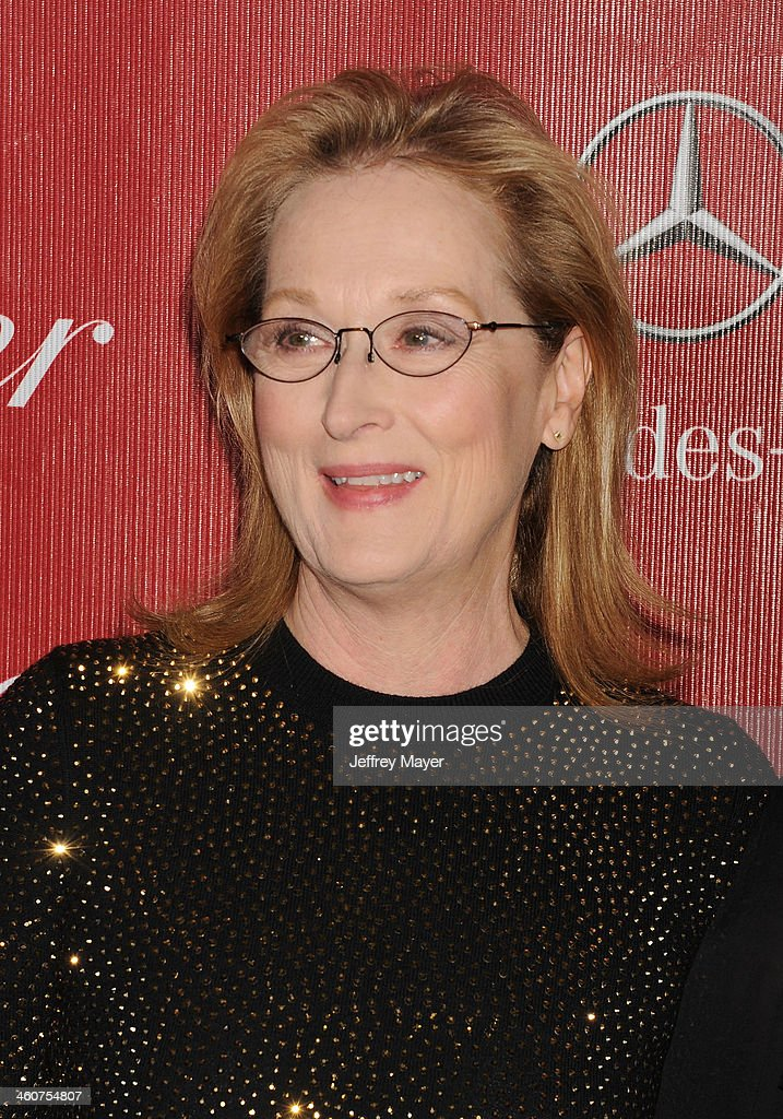 Actress <a gi-track='captionPersonalityLinkClicked' href=/galleries/search?phrase=Meryl+Streep&family=editorial&specificpeople=171097 ng-click='$event.stopPropagation()'>Meryl Streep</a> arrives at the 25th Annual Palm Springs International Film Festival Awards Gala at Palm Springs Convention Center on January 4, 2014 in Palm Springs, California.